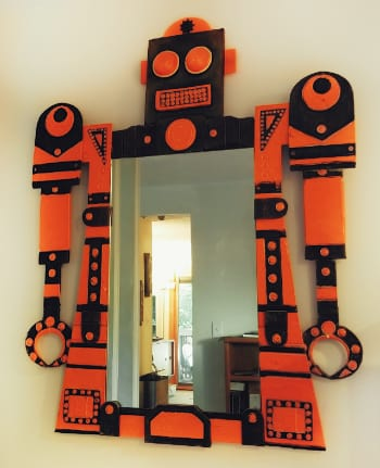 "From my personal collection - 40""w x 50""h - Wall Mirror sculpture - Robot Monster - Artist ""Mitchel Zwick"" 1998"